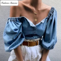 Fashione Shanone - Blouse denim avec épaules découvertes