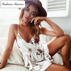 Fashione Shanone - Robe blanche fleurie
