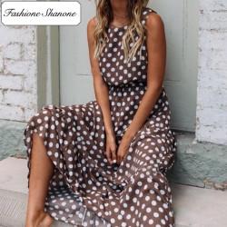 Fashione Shanone - Maxi brown dress with white polka dot