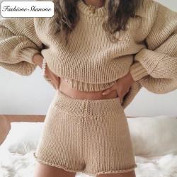 Fashione Shanone - Ensemble pull beige et short en laine