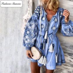 Fashione Shanone - Blue bohemian dress