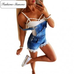 Fashione Shanone - Denim dungarees with lace