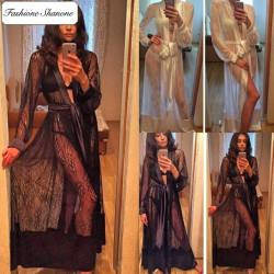 Fashione Shanone - Robe de chambre en dentelle et satin