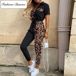 Fashione Shanone - Leopard and black jumpsuit