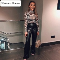 Fashione Shanone - Pantalon en cuir jambe large