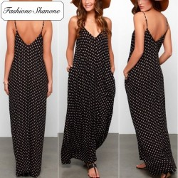 Fashione Shanone - Maxi black dress with white polka dot