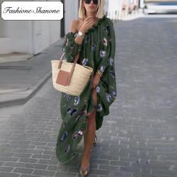 Fashione Shanone - Feather army green maxi dress