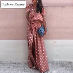 Fashione Shanone - Pink maxi dress with polka dot
