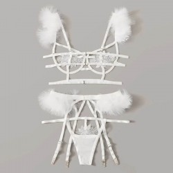 Fashione Shanone | Fluffy G-string bra and garter belt