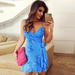 Fashione Shanone | Robe cache-coeur bleue