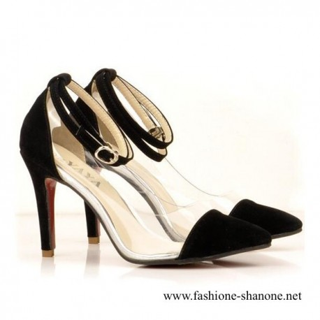 305 - Transparent heels pumps with red bottom