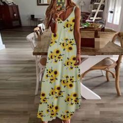 Fashione Shanone | Robe longue tournesol à bretelles