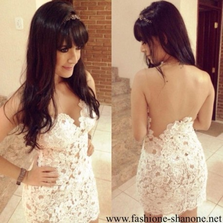 305 - White and transparent dress with backless