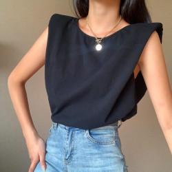 Oversized shoulder pads top