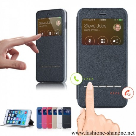 305 - Leather phone case with window and magnet sliding answer call function