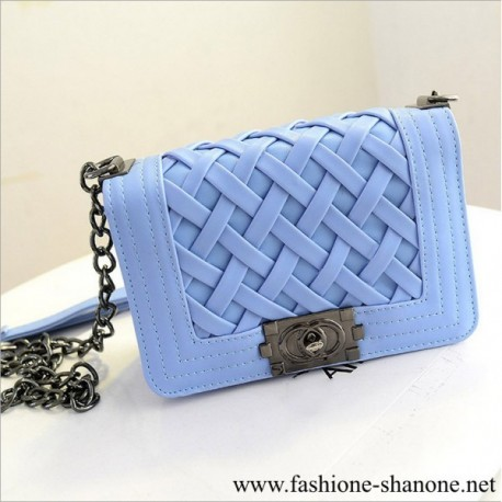 305 - Faux leather blue clutch