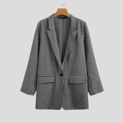 Fashione Shanone | Blazer oversize vichy noir et blanc
