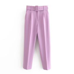 Fashione Shanone | Pantalon carotte taille haute avec ceinture
