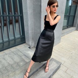 Fashione Shanone   Mid-length leather skirt