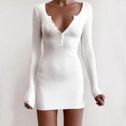 Plunging neckline ribbed bodycon dress