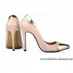 305 - Pink and gold pointed toe high heels pumps