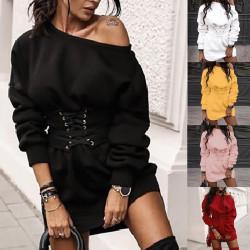 Fashione Shanone | Corset belt sweatshirt dress