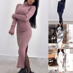Fashione Shanone | Long slit sweater dress