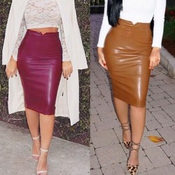 Fashione Shanone | Mid-length leather skirt