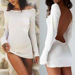 Fashione Shanone | Robe blanche dos décolleté