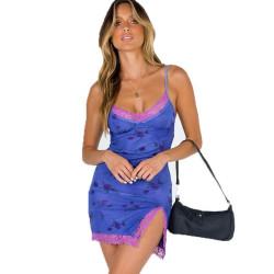 Fashione Shanone | Robe bleu fendue