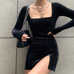 Fashione Shanone   Robe en velours fendue
