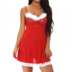 Fashione Shanone | Red Christmas babydoll with fur