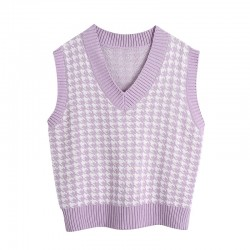 Fashione Shanone | Sleeveless houndstooth sweater