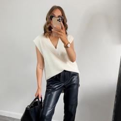 Fashione Shanone | Pull sans manche blanc cassé