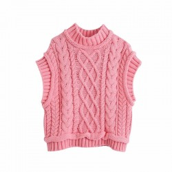 Fashione Shanone | Pink twisted vest sweater