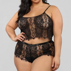 Fashione Shanone | Plus size pajamas with lace top and shorts