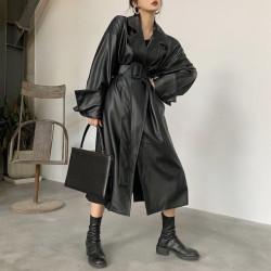 Fashione Shanone | Long leather coat with belt