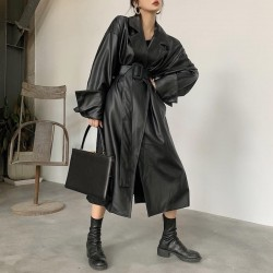 Fashione Shanone | Long manteau en cuir avec ceinture