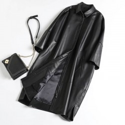 Fashione Shanone | Long loose-effect leather coat