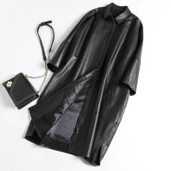 Fashione Shanone | Long manteau en cuir effet loose