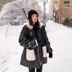 Fashione Shanone | Manteau en cuir avec morceaux en laine