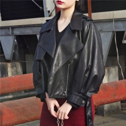 Fashione Shanone | Leather jacket with puffed sleeves
