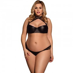 Fashione Shanone | Plus size lace and leather lingerie set