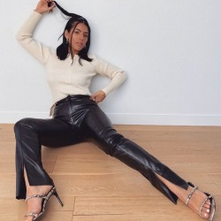 Fashione Shanone | Pantalon en cuir fendu