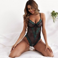 Fashione Shanone | Black and green lace bodysuit