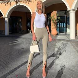 Fashione Shanone | Pantalon fendu taille haute