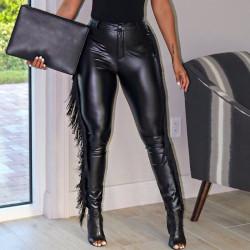 Fashione Shanone | Leather pants with fringe