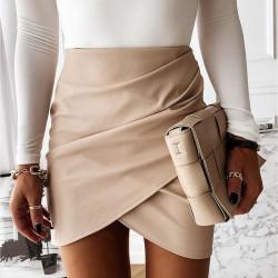 Fashione Shanone | Mini jupe portefeuille en cuir