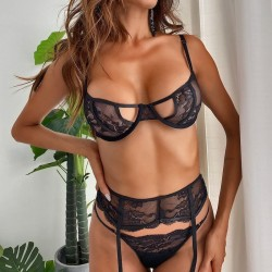 Fashione Shanone   Lace lingerie set with garter belt