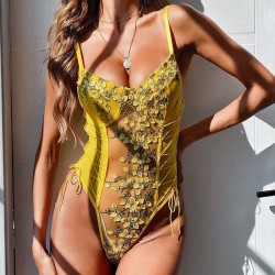 Floral yellow bodysuit